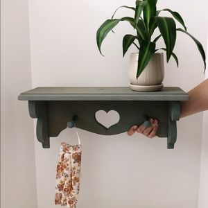 Vintage Wooden Heart Shelf with Pegs